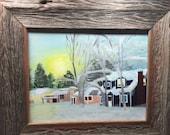 Sunbeams on snow, folk art winter neighborhood scene near Anchorage Alaska, 8X10 canvas custom framed