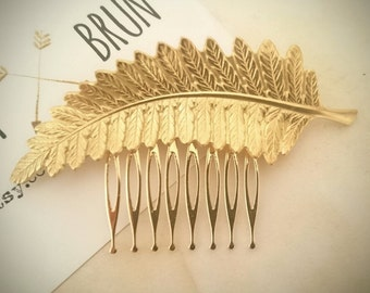 Fern Leaf Hair Comb Gold Leaf Hair Comb Bridal Hair Comb Hair Accessories Wedding