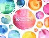 Watercolor Round Spots Clipart: 16 Digital files. Hand painted, brush strokes, splodge, splotch, abstract watercolour, background, frame