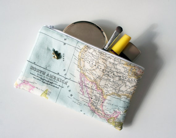 items similar to custom world map make up bag