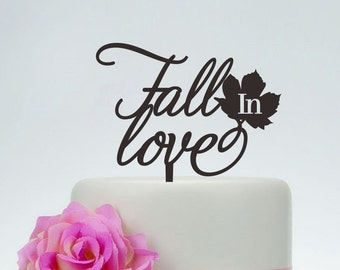 Wedding Cake Topper,Fall In Love Cake Topper,Custom Cake Topper,Unique Cake Topper,Personalized Cake Topper P113