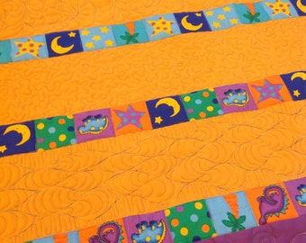 Dinosaur, Moon and Stars Baby Quilt