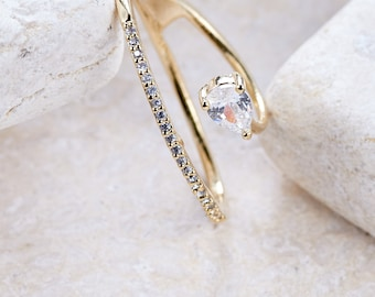 Crystal Thumb Ring - White gold/ Rose gold/ Yellow gold plated dainty