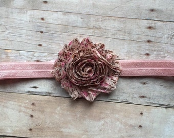 Vintage Pink Baby Headband, Shabby Chic headband, Baby Girl Headband, Newborn Headband, Girls Headband, Hair accessorie, Toddler Headband