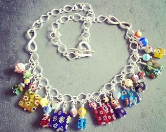 Millefiori Squares Necklace Multicolour Handmade in UK