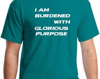 I Am Burdened with Glorious Purpose Loki Avengers Inspired Tee Shirt Tom Hiddleston Thor