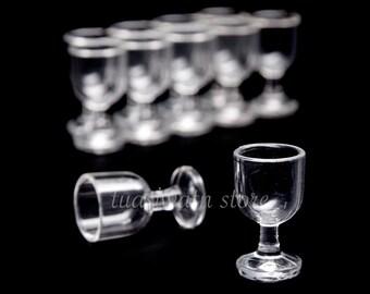 10pc/Set - Dollhouse Miniatures Plastic Cylindrical-Shaped Ice Cream Glass
