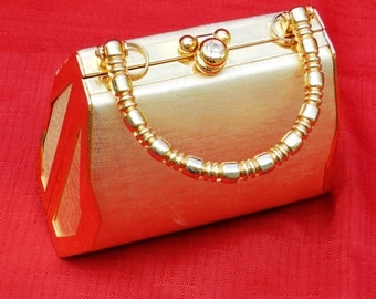 Vintage Gold Lame' Hardcase Purse Small            00343
