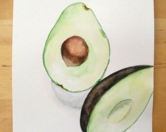 Avocado Watercolor ORIGINAL