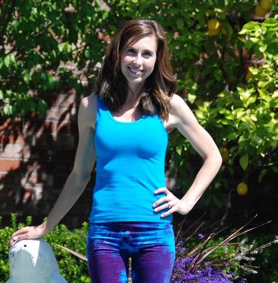 Tropical Blue Tank Top by Splash Dye Activewear (Matching Top For Purple Swirl Pants & Leggings)