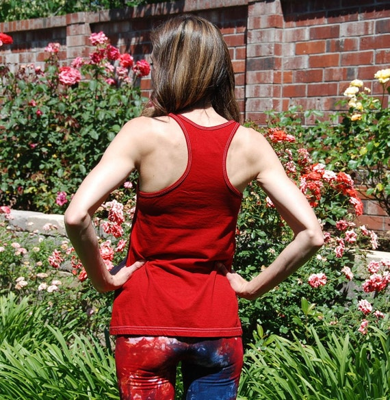 Red Racerback Tank Top by Splash Dye Activewear (Matching Top For Red and Blue and also for Cherry Lemon Pants and Leggings)