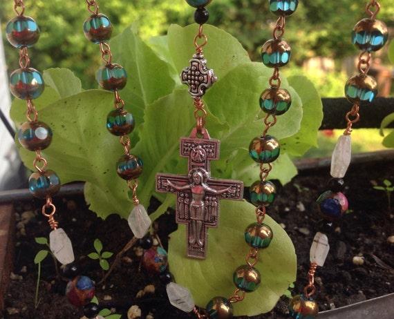 HEY MARY peace beads by T.R. Jackson custom rosary precious emerald, ruby, saphire, mosaic beads, rutilated quartze onyx St Francis crucifix