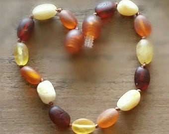Baltic amber baby teething anklet bracelet - Raw Rainbow colour - CERTIFIED Genuine - Organic -
