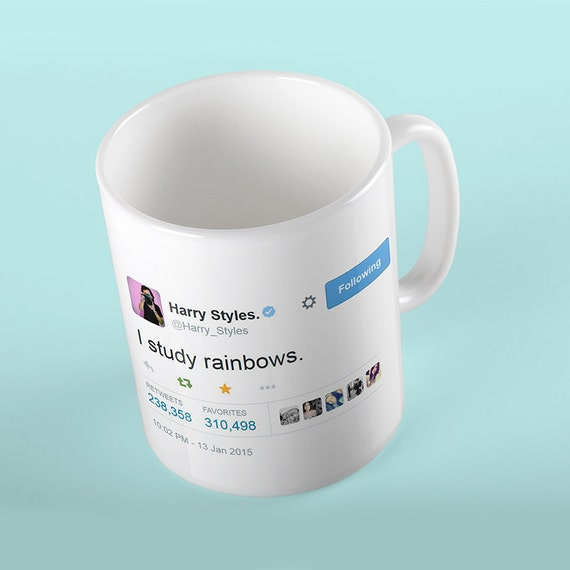 Coffee Mug Harry Styles I Study Rainbows Tweet Mug