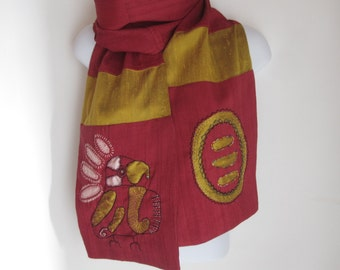 Laotian Silk Scarf, Exotic Original One-of-a kind Design,Red,Gold and Pink Color,Exotic Bird with Circle Design