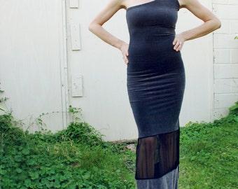 Vintage One Shoulder Velvet Mesh Ombre Grey BodyCon Maxi Dress