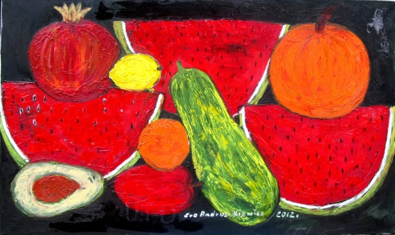 Fruit. Large oil painting. Oil painting.  Original oil painting. Large original oil , colours; red,orange, yellow, green,black. ready