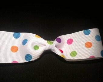 Multi color polka dot bow
