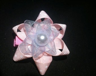 Pink and purple pearl bow