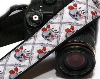 Sugar Skulls Camera Strap with Roses, Day of the Dead, dSLR Camera Strap, SLR, Nikon, Canon Camera Strap, Camera Accessories