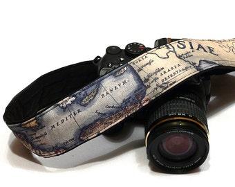 Vintage Map Camera Strap. Canon Nikon Camera Strap. SLR, DSLR Camera Strap. Gift For Photographer. Etsy Gifts