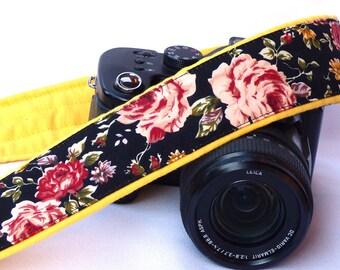 Fashion Camera Strap. Roses Camera Strap. Canon Nikon Camera Strap. Photo Gear.  Camera Accessories