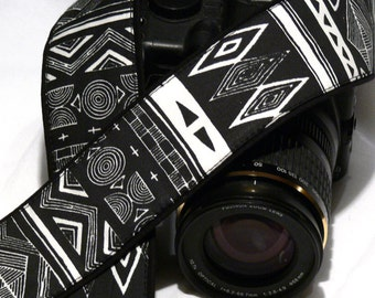 Aztec Camera Strap. DSLR Camera Strap. Black and White Camera Strap. Camera Accessories