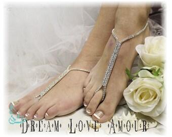 Rhinestone Barefoot sandals Silver  | beach wedding sandal | bridal foot jewelry | crystal sandal-wedding shoes-chic footless sandles-S1