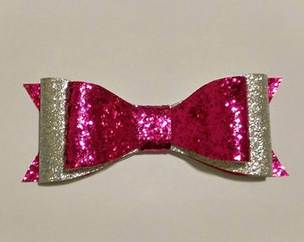 Glitter Bow, Double Stacked, Alligator Clip