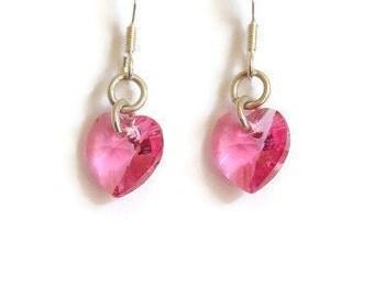 SALE!!! WAS 8.00 NOW 4.00 Pink crystal heart earrings