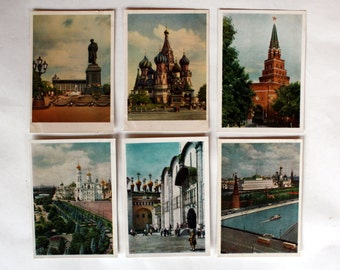 "Vintage set of 24 postcards ""Moscow"". Color photos of urban landscapes. 1963"