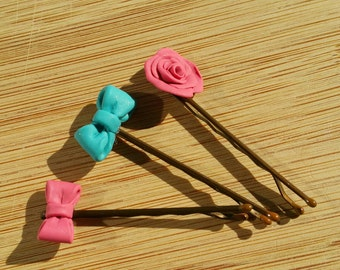 Bow and Rose hair pin trio