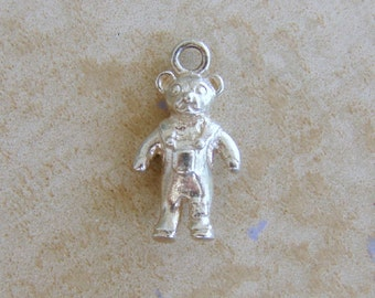 Teddy Bear Wearing Overalls Sterling Silver Bracelet Charm