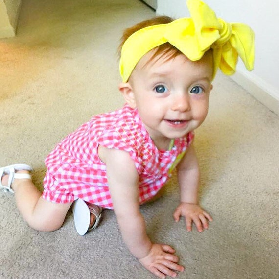 Bright Yellow Big Bow Headwrap!      (Knotted headband/ Summer Head wrap)