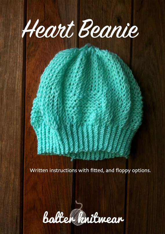 Knitting Pattern For Basic Beanie : Beginner Knitting Pattern Heart Beanie by BalterKnitwear on Etsy