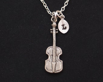 cello necklace, sterling silver filled, initial necklace, silver cello charm on silver chain, 3D music instrument,gift for cellist,christmas