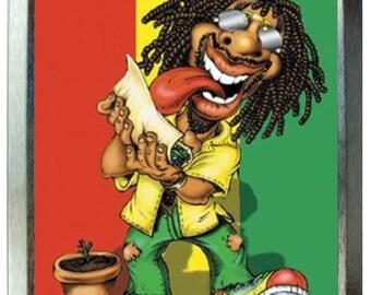 Rasta man skin up design 2oz gold tobacco tin,pill box,storage tin