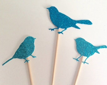Bird Party Cupcake Toppers, Birthday, Wedding party or Baby Shower