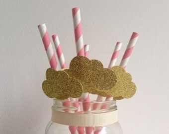 Baby Shower or Birthday Party Pink Stripe and Glitter Silver Cloud Straws