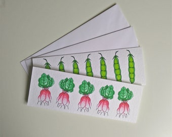 Radish and peas in a row. Set of 2 cards with envelopes