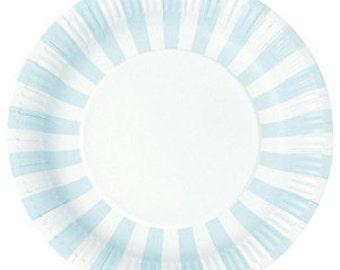 Paper Plates | Party Plates | Blue Paper Plates | Pale Blue and White Stripe Party Plates | Blue Party Plates | Stripe Party Plates