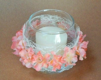 Pretty rustic votive, perfect for a summer wedding or banquet.