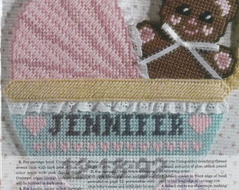 Baby Carriage Birth Announcement in Plastic Canvas