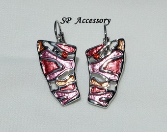 Pink jewelry, Green jewelry, Metallic Earrings, crystal earrings, stainless steel earrings, jewelry earrings