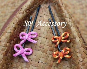 Lovely Hair Pin Rope-Bow, hair pin clay, jewelry hair pin