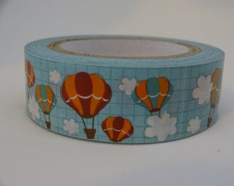 Washi masking blue tape with hot air balloon and clouds 10 m/11 yards crafting decorative tape cardmaking tape scrapbook tape summer washi