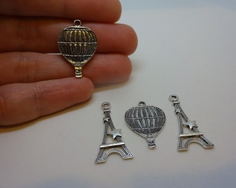 4 silver plated Eiffel Tower and hot air balloon charms pendants DIY bracelets and necklaces jewellery making charms