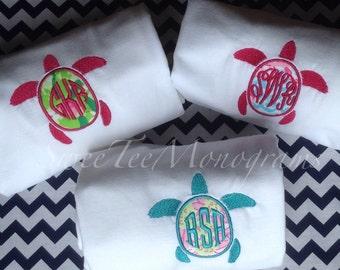 Lilly Pulitzer / Vineyard Vines Preppy Turtle monogrammed T Shirt / Sorority Letters / Bridesmaid Gift - short sleeve