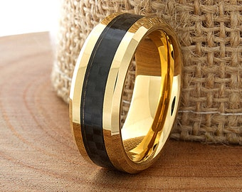 Carbon Fiber Tungsten Wedding Ring Yellow Gold Mens Wedding Band Custom Laser Engraved Ring His Yellow Gold Tungsten Band 8mm 5-15 Half Size