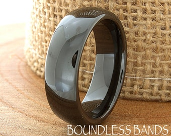 Ceramic Wedding Band Mens Ring Mens Wedding Bands Custom Made Rings Black Ceramic Band 7mm Engraving Mans Anniversary His Her Size Women New